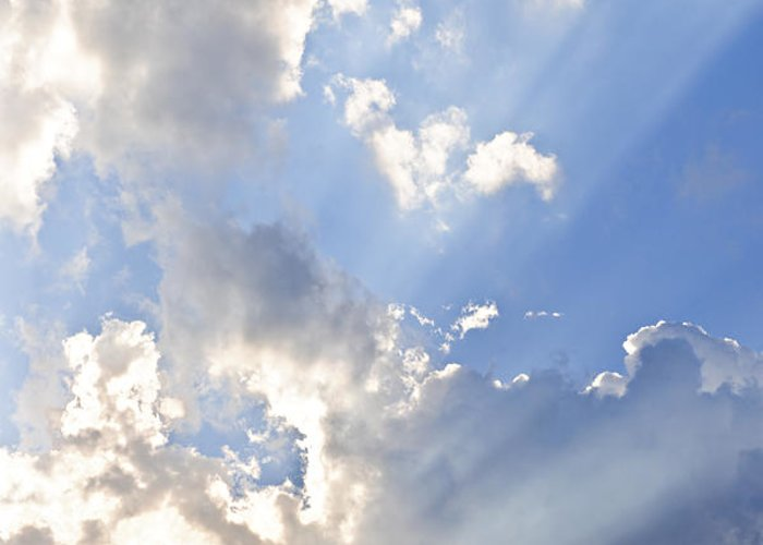 Sky Greeting Card featuring the photograph Blue Sky With Sun Rays by Elena Elisseeva