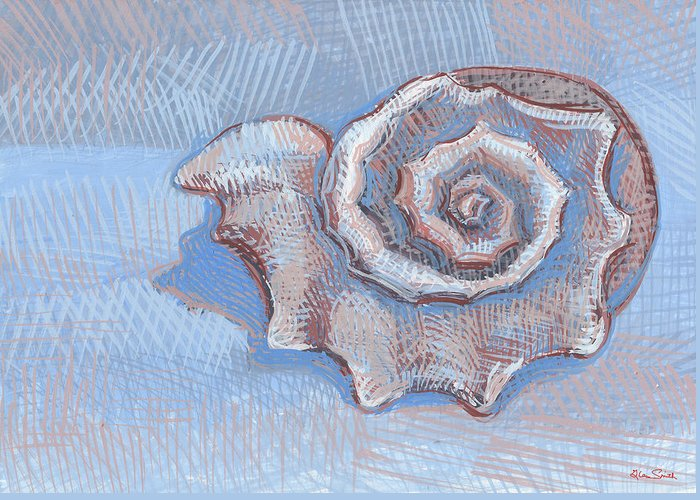 Snail Fossil Greeting Card featuring the painting Blue Spiral by Richard Glen Smith