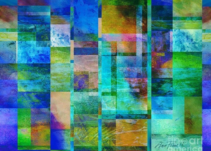 Abstract Greeting Card featuring the digital art Blue Squares Abstract Art by Ann Powell