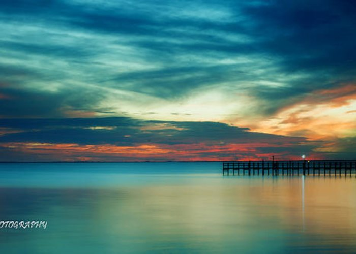An Amazing Sunset Over Charlotte Harbor Greeting Card featuring the photograph Blue Sunset by Christopher Blake