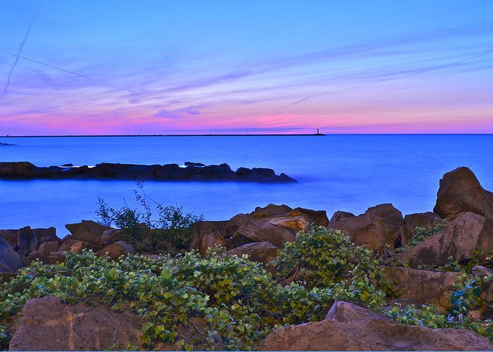 Sunset Greeting Card featuring the photograph Blue Sunset by Frozen in Time Fine Art Photography