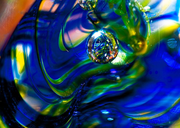 Glass Greeting Card featuring the photograph Blue Swirls by David Patterson