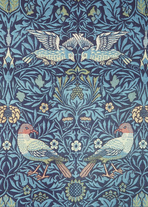 William Greeting Card featuring the tapestry - textile Blue Tapestry by William Morris