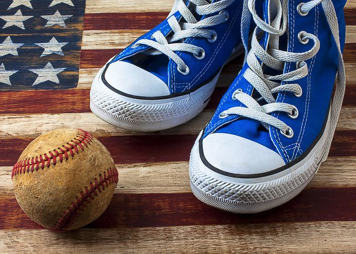 Blue Greeting Card featuring the photograph Blue Tennis Shoes And Baseball by Garry Gay