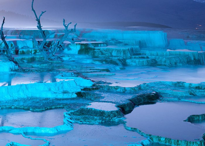mammoth Hot Springs Greeting Card featuring the photograph Blue Terrace by John Richardson