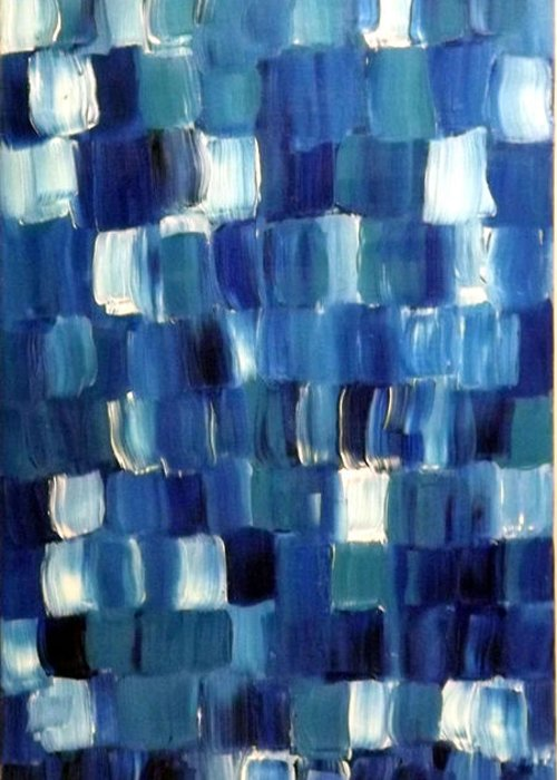 Blue Greeting Card featuring the painting Blue Thing by KR Moehr