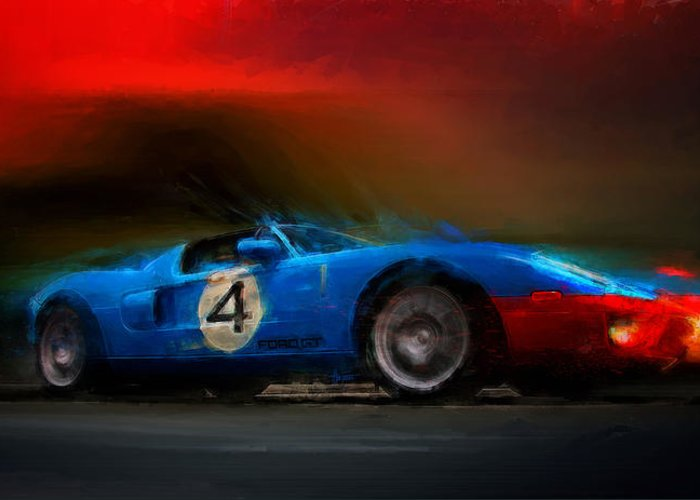 Ford Gt Greeting Card featuring the digital art Blue Thunder by Alan Greene