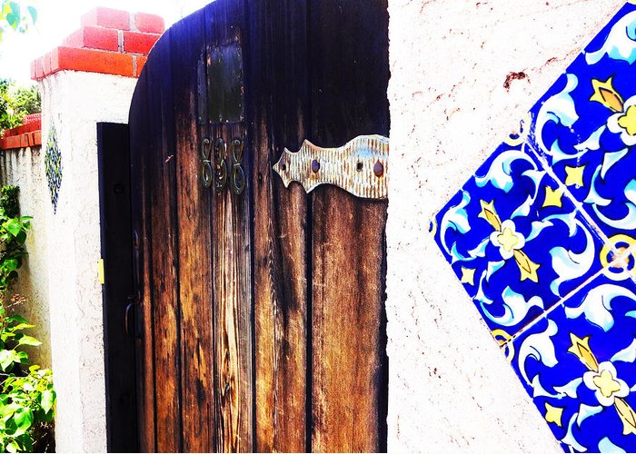 Door Greeting Card featuring the photograph Blue Tile Brown Door 1 by Korynn Neil