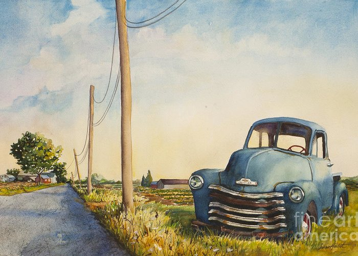 Blue Truck Greeting Card featuring the painting Blue Truck North Fork by Susan Herbst