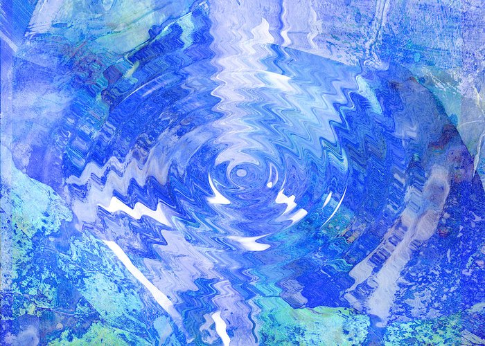 Blue Greeting Card featuring the digital art Blue Twirl Abstract by Ann Powell