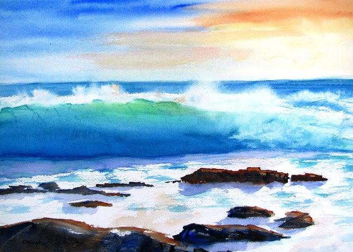 Waves Greeting Card featuring the painting Blue Water Wave Crashing On Rocks by Carlin Blahnik CarlinArtWatercolor