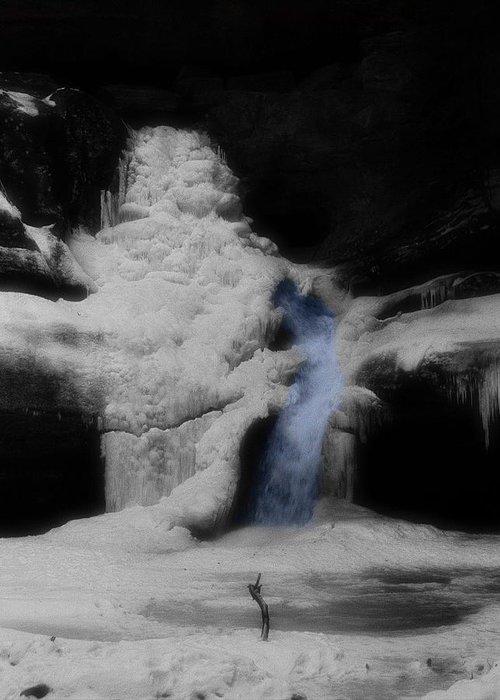 Blue Waterfall Frozen Landscape Greeting Card featuring the photograph Blue Waterfall Frozen Landscape by Dan Sproul
