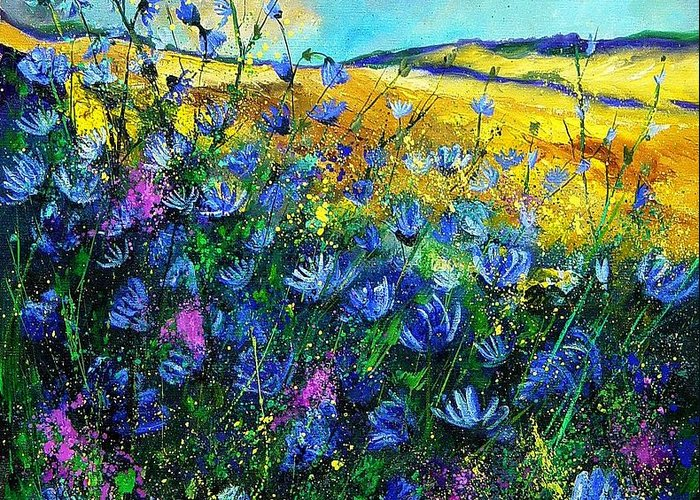 Flowers Greeting Card featuring the painting Blue Wild Chicorees by Pol Ledent