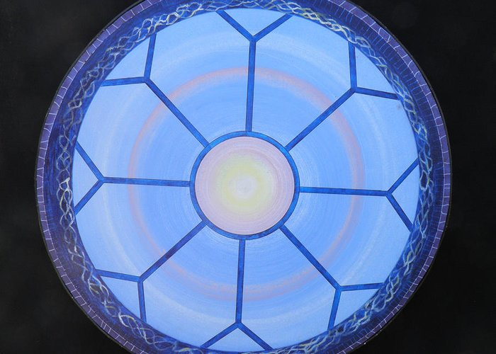 Mandala Greeting Card featuring the painting Blue Window by E Barturen
