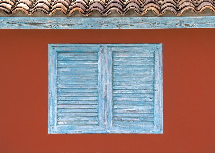 Abstract Greeting Card featuring the photograph Blue Window Shutter Of Aruba by David Letts