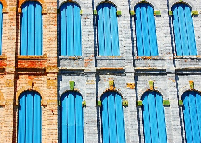 Greeting Card featuring the photograph Blue Window by Tim Burgin