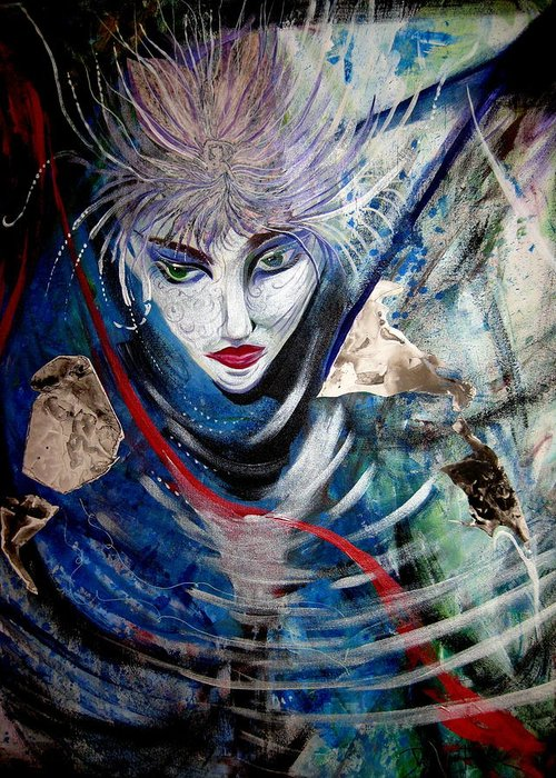 Blue Zen Fantasy Portrait Collage And Acrylic Greeting Card featuring the painting Blue Zen by Jan VonBokel