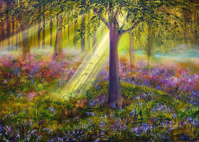 Popular Greeting Card featuring the painting Bluebell Woods by Ann Marie Bone