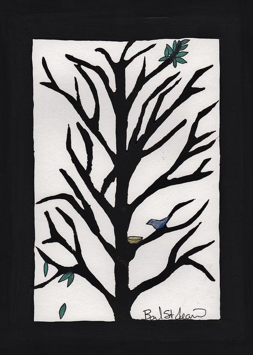 Bluebird In A Pear Tree Greeting Card featuring the painting Bluebird In A Pear Tree by Barbara St Jean
