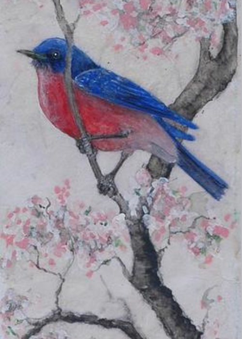 Bluebird Greeting Card featuring the painting Bluebird In Cherry Blossoms by Sandy Clift
