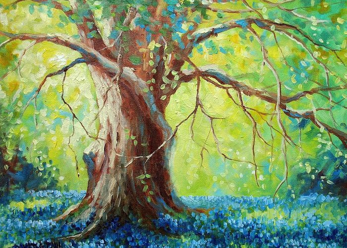 Bluebonnets Greeting Card featuring the painting Bluebonnets Under The Oak by David G Paul