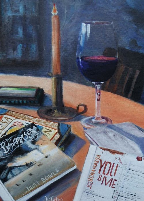 Joe Bonamassa Greeting Card featuring the painting Blues And Wine by Donna Tuten