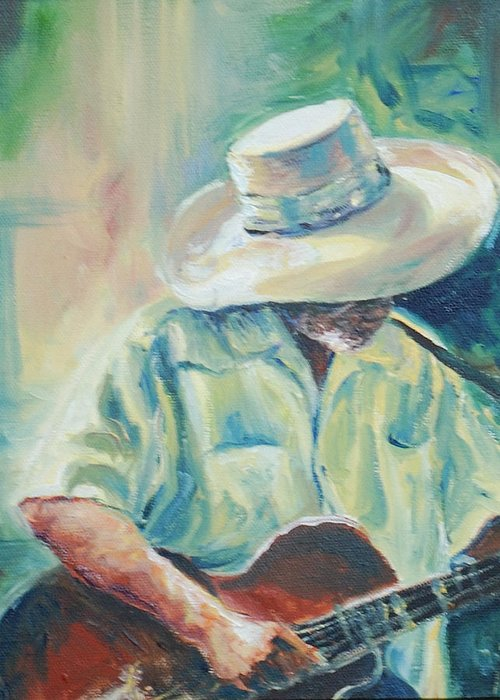 Singer Greeting Card featuring the painting Blues Man by Sharon Sorrels