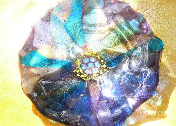 Glass Greeting Card featuring the photograph Blues Mandala Bowl by Donna Spencer
