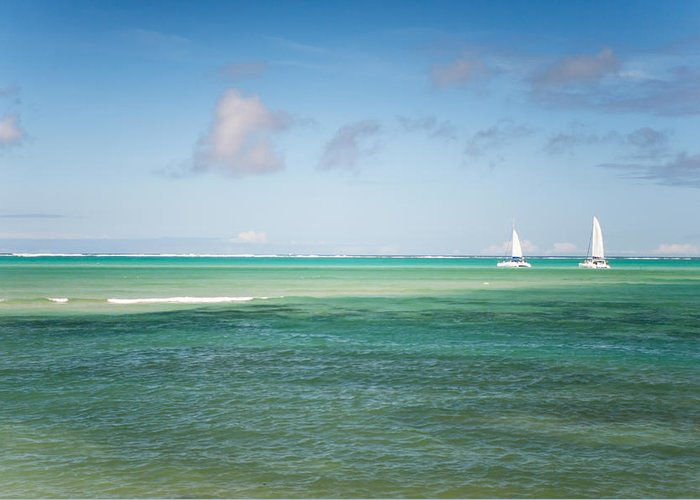 Ocean Greeting Card featuring the photograph Blues. Mauritius by Jenny Rainbow