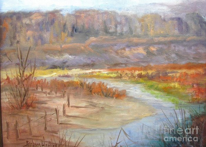Bluff Canyon Overlook Greeting Card featuring the painting Bluff Canyon Overlook by Barbara Haviland
