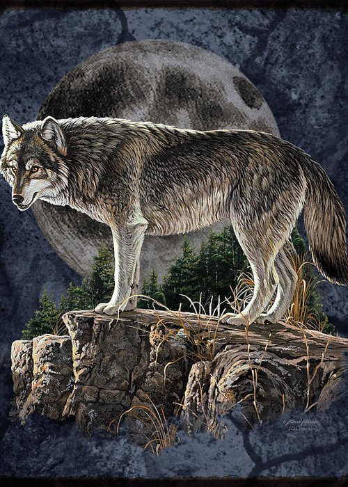Bruce Miller Greeting Card featuring the painting Bm Wolf Moon by JQ Licensing
