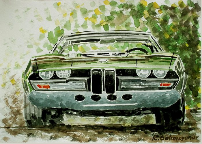Bmw Greeting Card featuring the painting Bmw Bertone Spicup by Ildus Galimzyanov