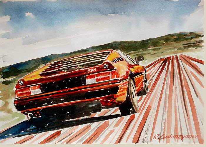 Bmw Greeting Card featuring the painting Bmw M1 by Ildus Galimzyanov