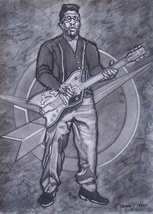 Texas;charcoal;king Of Rock;rock And Roll;music;1950s;blues;musician;funk;electric Guitar;marble;soul Greeting Card featuring the drawing Bo Diddley - Have Guitar Will Travel by Sean Connolly