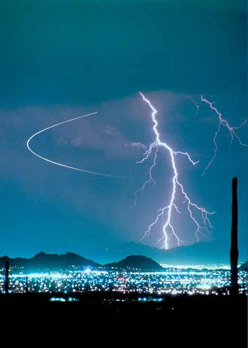 Lightning Greeting Card featuring the photograph Bo Trek The Lightning Man by James BO Insogna