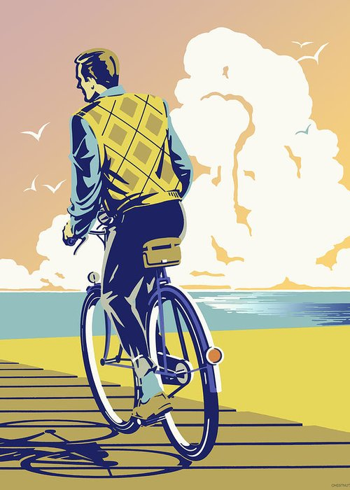 Riding Your Bicycle On The Beach Boardwalk Greeting Card featuring the digital art Boadwalk Bike by David Chestnutt