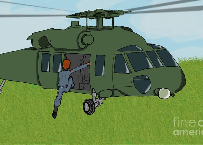 Helicopter Greeting Card featuring the digital art Boarding A Helicopter by Yael Rosen