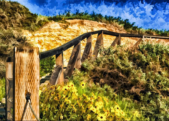 Boardwalk Steps Greeting Card featuring the painting Boardwalk Steps by Anthony Citro