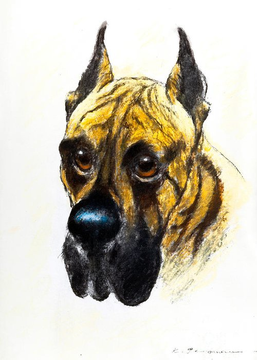 Boarhound Greeting Card featuring the painting Boarhound Portrait by Kurt Tessmann