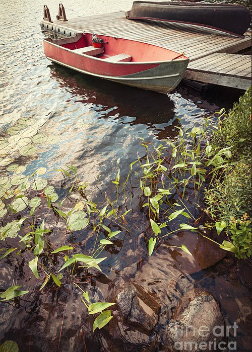 Boat Greeting Card featuring the photograph Boat At Dock by Elena Elisseeva