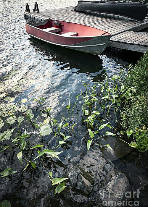 Boat Greeting Card featuring the photograph Boat At Dock On Lake by Elena Elisseeva