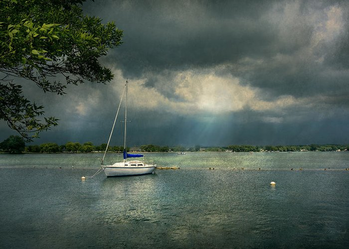 Name Greeting Card featuring the photograph Boat - Canandaigua Ny - Tranquility Before The Storm by Mike Savad