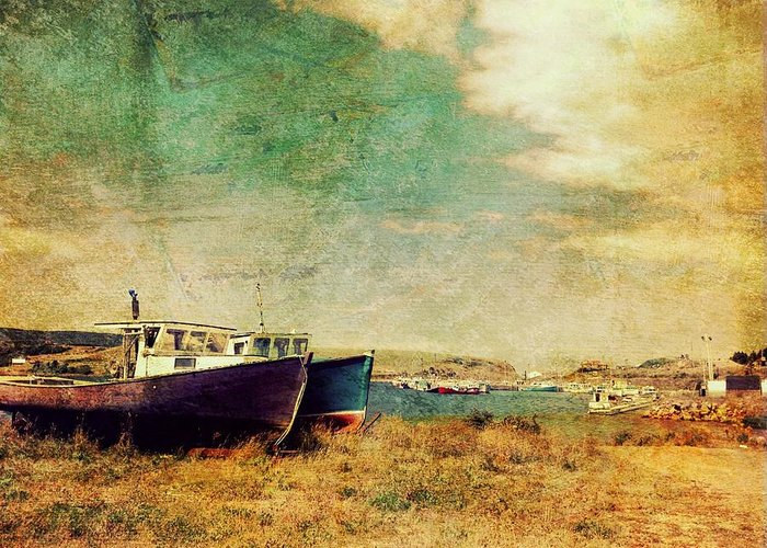 Grunge Greeting Card featuring the photograph Boat Dreams On A Hill by Tracy Munson