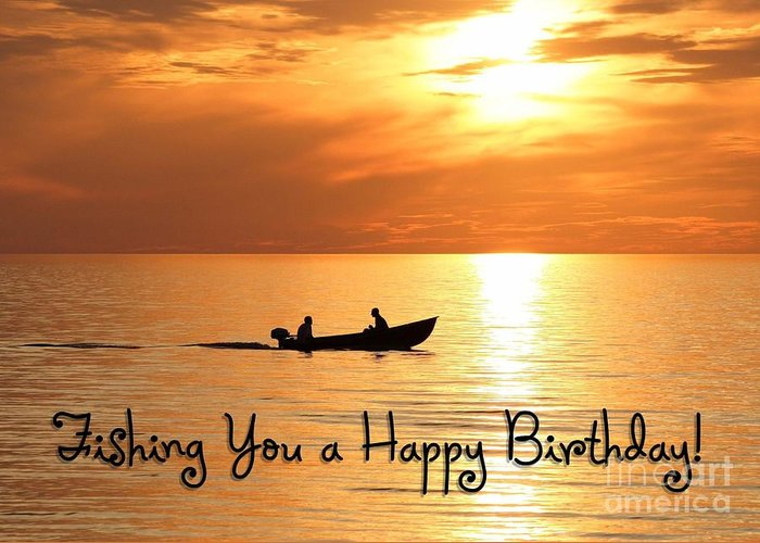 Jh Greeting Card featuring the digital art Boat Fishing Birthday by JH Designs