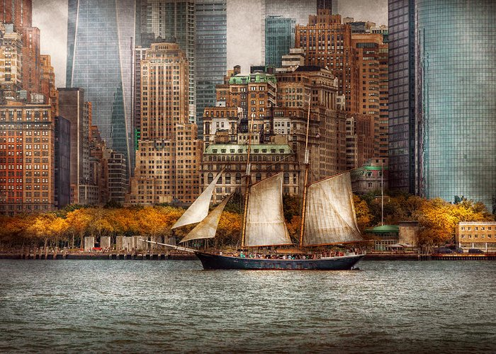 Skyline Greeting Card featuring the photograph Boat - Governors Island Ny - Lower Manhattan by Mike Savad