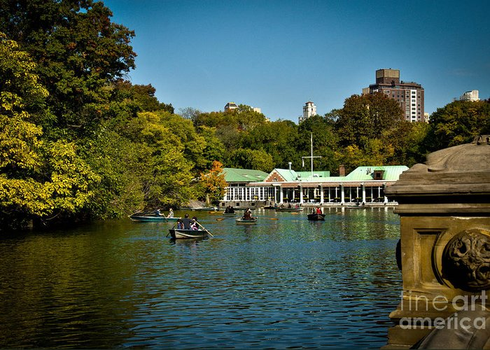 Boat House Greeting Card featuring the photograph Boat House Central Park New York by Amy Cicconi