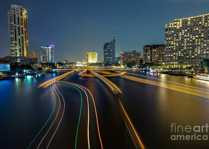 Chao Phraya Greeting Card featuring the photograph Boat Light Trails On Bangkok Chao Phraya River by Fototrav Print