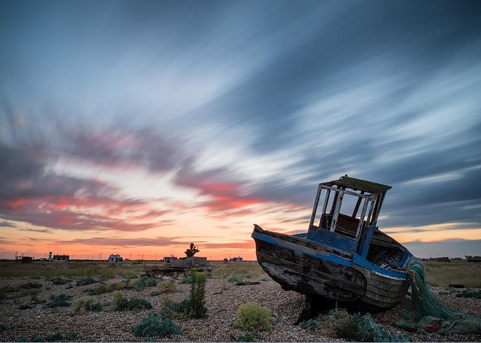 Long Exposure Greeting Card featuring the photograph Boat Long Exposure Sunset by Matthew Gibson