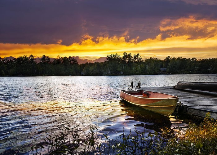 Boat Greeting Card featuring the photograph Boat On Lake At Sunset by Elena Elisseeva