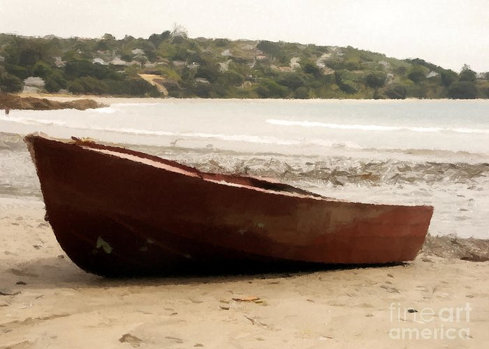 Boat Greeting Card featuring the painting Boat On Shore 02 by Pixel Chimp